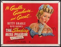 6p022 SHOCKING MISS PILGRIM linen British quad '46 great different art of sexy Betty Grable!