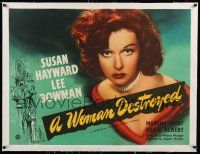 6p023 SMASH-UP linen British quad '46 different close up of sexy Susan Hayward, A Woman Destroyed!
