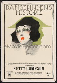 6p053 NEW LIVES FOR OLD linen Danish '25 Thelander art of Betty Compson, dancer leading 2 lives!