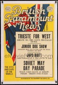 6p027 BRITISH PARAMOUNT NEWS linen #1910 English double crown '49 Japs Riot in Tokio, Dog Show!