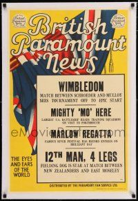 6p028 BRITISH PARAMOUNT NEWS linen #1911 English double crown '49 Wimbledon, Mighty Mo is here!