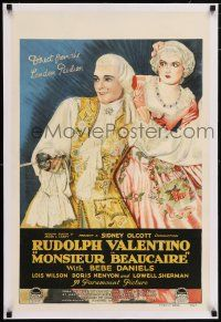 6p024 MONSIEUR BEAUCAIRE linen style A English double crown '24 Rudolph Valentino & Bebe Daniels!