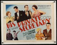 6p008 HIS PRIVATE SECRETARY linen blue 1/2sh '33 montage with 3 images of dapper young John Wayne!