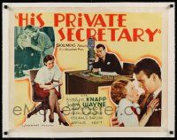 6p009 HIS PRIVATE SECRETARY linen yellow 1/2sh '33 two images of young John Wayne w/his girl Friday!