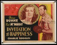6p010 INVITATION TO HAPPINESS linen Other Company 1/2sh '39 art of Irene Dunne & boxer MacMurray!