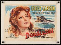 6p038 DESIRE ME linen Italian 14x19 '49 different art of beautiful Greer Garson by the ocean!