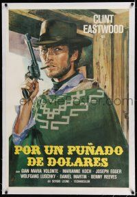 6p079 FISTFUL OF DOLLARS linen Spanish R70s Leone classic spaghetti western, art of Eastwood!