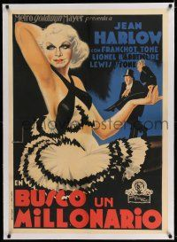 6p080 GIRL FROM MISSOURI linen Spanish '34 different full-length artwork of beautiful Jean Harlow!