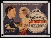 6p001 20th CENTURY linen 11x16 trade ad '34 art of John Barrymore grabbing sexy Carole Lombard!
