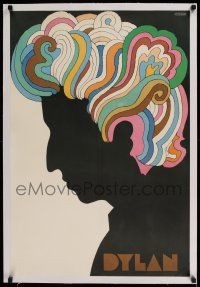 6p002 DYLAN linen 22x33 album insert '67 colorful silhouette art of Bob Dylan by Milton Glaser!