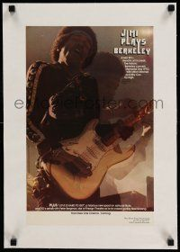 6p005 JIMI PLAYS BERKELEY linen 11x17 special '73 great image of Jimi Hendrix performing w/ guitar!