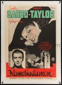 6p073 CAMILLE linen Swedish '37 different images of pretty Greta Garbo & Robert Taylor, Rohman art!