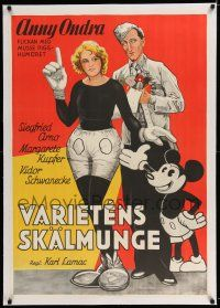 6p074 FAIR PEOPLE linen Swedish '30 Anny Ondra as Mickey Mouse by a real unauthorized Mickey!