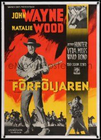 6p078 SEARCHERS linen Swedish R63 John Wayne with rifle, different Aberg art, John Ford classic!