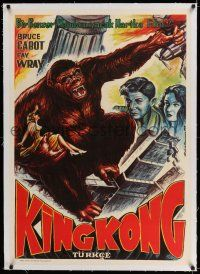6p050 KING KONG linen Turkish R70s different Sammson art of Fay Wray, Bruce Cabot & the giant ape!