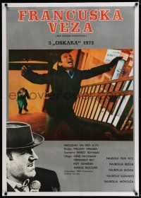 6p058 FRENCH CONNECTION linen Yugoslavian 27x39 '73 Gene Hackman in movie chase climax, Friedkin!