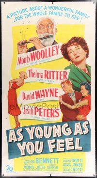 6r019 AS YOUNG AS YOU FEEL linen 3sh '51 great art of top cast & young sexy Marilyn Monroe!
