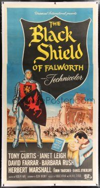 6r022 BLACK SHIELD OF FALWORTH linen 3sh '54 art of knight Tony Curtis & real life wife Janet Leigh