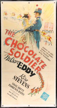 6r026 CHOCOLATE SOLDIER linen style B 3sh '41 stone litho of Nelson Eddy singing to Rise Stevens!