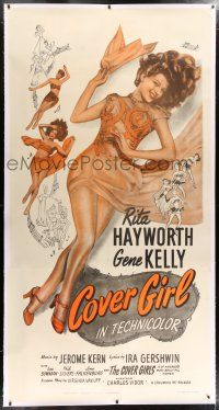 6r027 COVER GIRL linen 3sh R49 sexy full-length Rita Hayworth laying down with flowing red hair!
