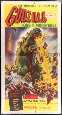 6r031 GODZILLA linen 3sh '56 Gojira, great full-length art of the mightiest King of the Monsters!