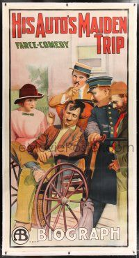 6r032 HIS AUTO'S MAIDEN TRIP linen 3sh '12 great stone litho of man in wheelchair, farce-comedy!