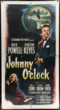 6r037 JOHNNY O'CLOCK linen 3sh '46 Dick Powell was too smart to tangle with sexy Evelyn Keyes!
