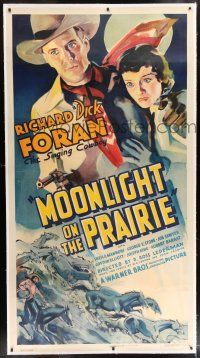 6r043 MOONLIGHT ON THE PRAIRIE linen 3sh '35 great art of Dick Foran, The Singing Cowboy & his gal!