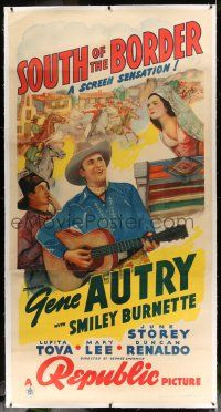6r050 SOUTH OF THE BORDER linen 3sh '39 art of cowboy Gene Autry with guitar & Smiley Burnette!