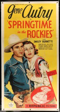 6r051 SPRINGTIME IN THE ROCKIES linen 3sh '37 cool art of Gene Autry with gun protecting his girl!