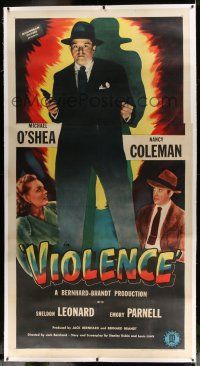 6r056 VIOLENCE linen 3sh '47 Nancy Coleman & Michael O'Shea fight undercover fascists in America!
