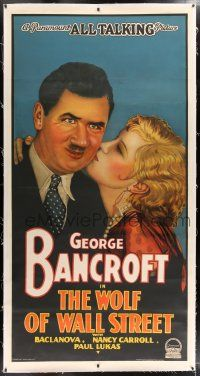 6r060 WOLF OF WALL STREET linen INCOMPLETE 3sh '29 stone litho of Baclanova kissing George Bancroft!