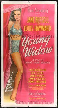 6r061 YOUNG WIDOW linen 3sh '46 full-length art of world's most exciting sexy brunette Jane Russell!