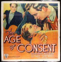 6r008 AGE OF CONSENT linen 6sh '32 stone litho of college girl caught in a love triangle, pre-Code!