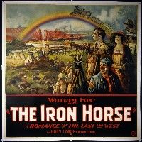 6r009 IRON HORSE linen 6sh '24 John Ford, best stone litho of train going over rainbow + top cast!