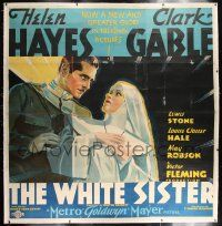 6r015 WHITE SISTER linen 6sh '33 great different close up art of Clark Gable & nun Helen Hayes!