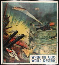 6r016 WHOM THE GODS WOULD DESTROY linen English 6sh '19 stone litho of World War I battleships!