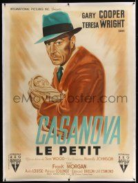 6r073 CASANOVA BROWN linen French 1p '47 completely different art of Gary Cooper carrying baby!