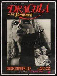 6r077 DRACULA HAS RISEN FROM THE GRAVE linen French 1p '69 vampire Christopher Lee & sexy Carlson!