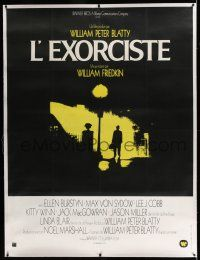 6r078 EXORCIST linen French 1p '74 William Friedkin & William Peter Blatty horror, classic image!