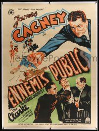 6r080 GREAT GUY linen French 1p '36 cool different art of James Cagney beating up bad guys!