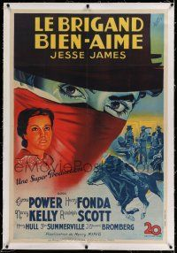 6r067 JESSE JAMES linen French 30x45 '39 different Koutachy art of masked outlaw Tyrone Power!