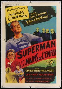 6r068 SUPERMAN & THE MOLE MEN linen French 32x47 '51 great images of hero George Reeves in costume!