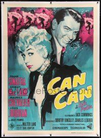 6r131 CAN-CAN linen Italian 1p R65 different artwork of Frank Sinatra & Shirley MacLaine!