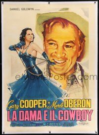 6r133 COWBOY & THE LADY linen Italian 1p R58 different art of Gary Cooper & sexy Merle Oberon!