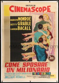 6r139 HOW TO MARRY A MILLIONAIRE linen Italian 1p '54 Tempesti art of sexy Monroe, Grable & Bacall!