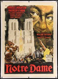 6r140 HUNCHBACK OF NOTRE DAME linen Italian 1p R60s cool different art of Charles Laughton!