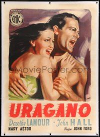 6r142 HURRICANE linen Italian 1p R50s different Manno art of Dorothy Lamour in sarong by Jon Hall!