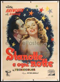 6r160 TONIGHT & EVERY NIGHT linen Italian 1p '46 Ballester art of sexy Rita Hayworth & Lee Bowman!