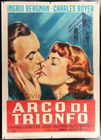 6r105 ARCH OF TRIUMPH linen Italian 2p R60s different ML art of Ingrid Bergman & Charles Boyer!
